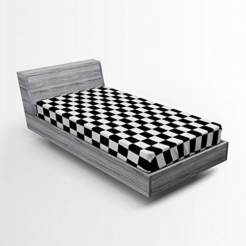 Ambesonne Checkers Game Fitted Sheet, Geometric Grid Style Monochrome Squares in Traditional Game Board Design, Soft Decorative Fabric Bedding All-Round Elastic Pocket, Twin Size, White Black