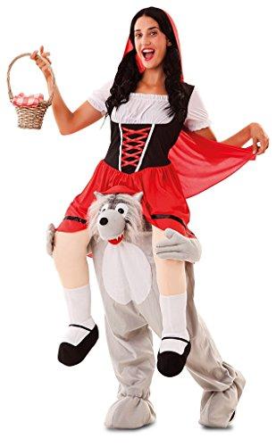 Disfraz de Caperucita Roja a hombros de Lobo para adultos
