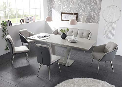 22461-6tlg Essgruppe mit Keramik-Tischoberfläche Esstisch Bank Stühle Tisch