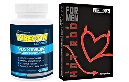 Virectin Loaded Natural Male Enhancement Supplement (1 Bottle) with Hot Rod Loaded Vigorgen Results for Men Increasing Male Virility 10 Capsules (1 Box)