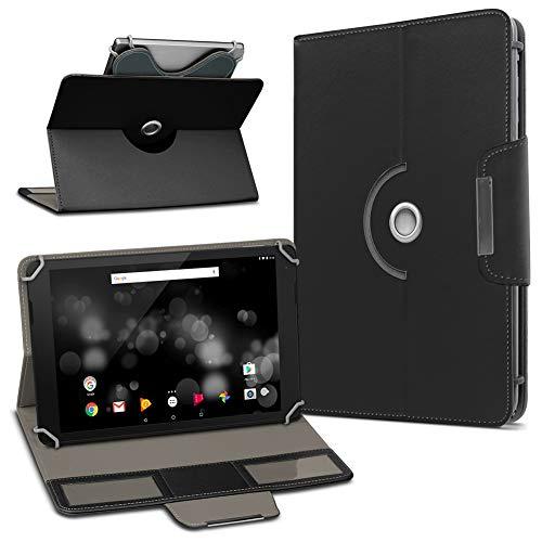 UC-Express TrekStor Primetab P10 Tablet Hülle Tasche Schutzhülle Hülle Schutz Cover Drehbar, Farbe:Schwarz