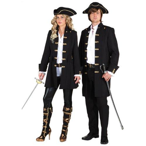 Costume Di Carnevale Giacca Piratessa donna pirata nero, Tgl 50