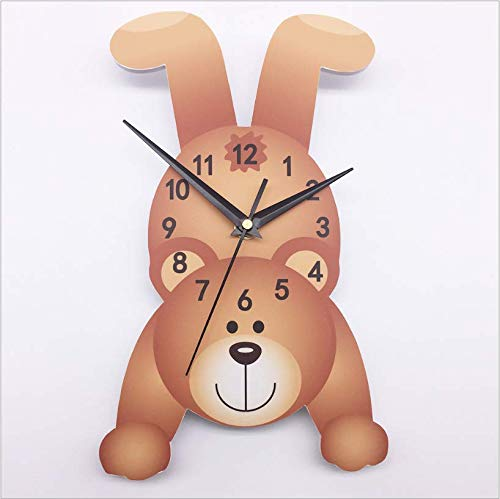 Hbbhbb Cute Cartoon Bear 3D Children Wall Clock Bedroom Living Room Home Decoration 55X40Cm