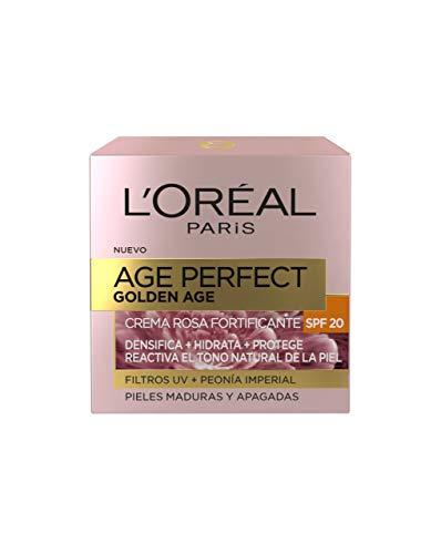 L'Oréal Paris Age Perfect Golden Age Crema de Día Fortificante con Protección Solar SPF 20, Antiflacidez y Luminosidad, Pieles Maduras y Apagadas, 50 ml