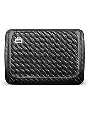 Ögon Smart Wallets - Stockholm V2 Cartera Tarjetero - Protección RFID: Protege Tus Tarjetas de Robar - hasta 10 Tarjetas + Recetas + Notas - Aluminio anodizado (Fibra de Carbono Verdadera Sarga)