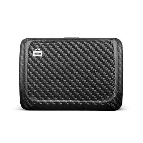 ÖGON Smart Wallets - Stockholm V2 Aluminium Geldbörse - Metallverschluss - RFID Blockierung Kartenetui - Bis zu 10 Karten und Banknoten - Echte Kohlefaser / Großes Gewebe