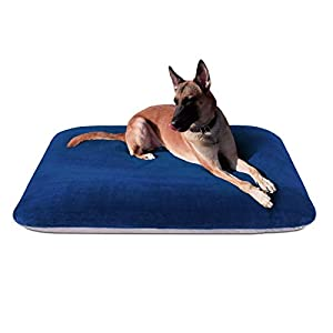 Magic Dog Extra Large Dog Bed Jumbo Crate Pad Mat Orthopedic Pet Beds 47 Inch Washable Anti Slip Dog Sleeping Mattress with Removable Cover, Blue XL