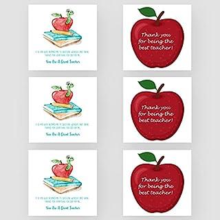 Marvello 'Thank you Teacher' zestaw kart Apple (6 kart) - w zestawie koperty premium - różne wzory - puste w środku - dla ...