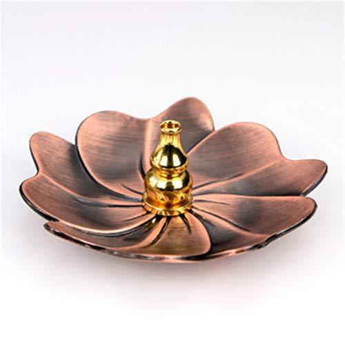 KUNYI Rückstau Räuchergefäss Stick-Räucherstäbchenhalter Startseite Buddhismus Dekoration Coil Lotus Censer Bronze Air Vaporizer Home Decor Supplies (Color : G)