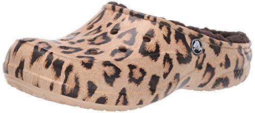 Crocs Women's Freesail Printed Leopard Lined Clog Shoe, Leopard/Espresso, 9 M US