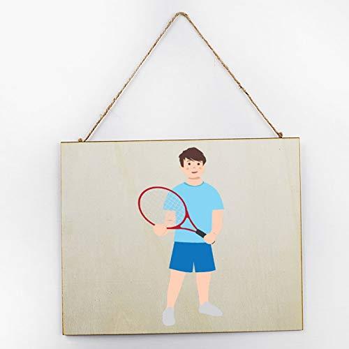 Vintage Large Wooden Hand Painted Sign Plaque Gift Kitchen Living Room Decor Handmade by Vintage Product Designer Kid Holding Tennis Racket Pattern
