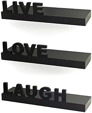 Amaze Shoppee Wooden Black Floating Wall Rack Shelves Live/Love/Laugh (Set of 3) (Black)