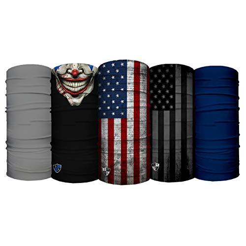 S A - UV Face Shield 5 Pack - Multipurpose Neck Gaiter, Balaclava, Elastic Face Mask for Men and Women (Male Prime)