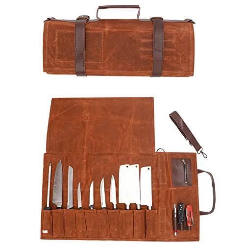 QEES Kochmesserrolle Messertasche Werkzeugtasche Aufbewahrungstasche mit Griff und Schultergurt aus Canvas Wasserdicht für Küchenutensilien Geschenk für Vater HYDD12