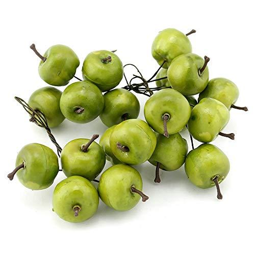TGG 20x Deko Äpfel am Draht, klein 3cm in Box, künstlich, Früchte !!! (grün)