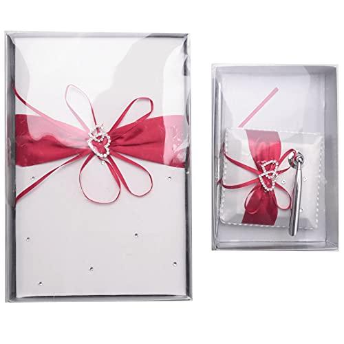 Iycorish Libro de visitas de boda con soporte de pluma conjuntos satén...