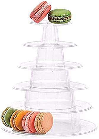 6 Tier Macaron Tower Display Stand Messar Clear Round Macaron Tower Tray Macaron Display Shelf product image