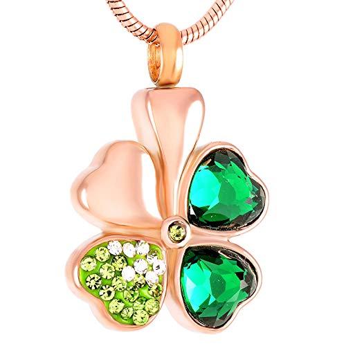 OPPJB Collar De Cenizas Y Corazóndiseño Elegante Collar De Acero Inoxidable Cristal Verde Trébol De Cuatro Hojas Colgante Collar De Cremación Mujeres Charm-C