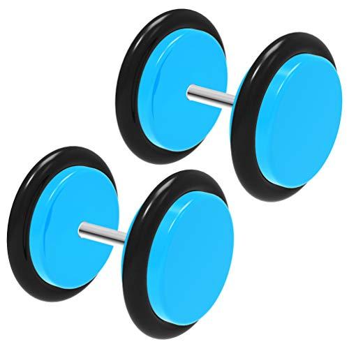 4st acryl 0g 8mm nep oor plug Cheater Lobe oorbel 0 gaas O-ringen piercing sieraden - lichtblauw
