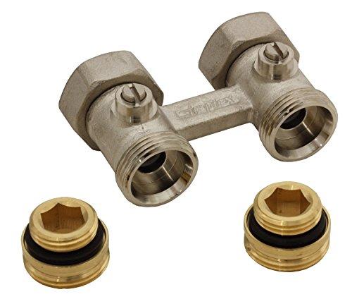 Simplex Zweirohr Hahnblock D1/50 Standard, Durchgangsform, absperrbar, mit 1/2