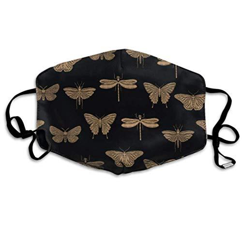 Nahtlose gestickte Insekten Goldene Schmetterlinge Mundschutz Fashion Folding Mundschutz