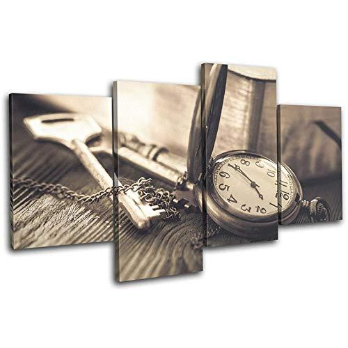 Cuadro En Lienzo 4 Piezas Impresiones sobre Lienzo Retro Reloj Llaves Rústico Vintage ImpresióN HD Pintura 4 Piezas Modernos Salón Decoracion Murales Pared Lona XXL Hogar Dormitorios Decor