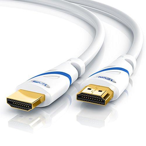 CSL - Câble HDMI 2.0b UHD 4k @60Hz 18 GBits de 10m - Ethernet Haut Debit - HDMI 2.0b 2.0a 2.0 1.4a - 4K Ultra HD 2160P fullHD 1080p - 3D Arc et CEC - Triple Blindé - Revêtement en PVC Blanc