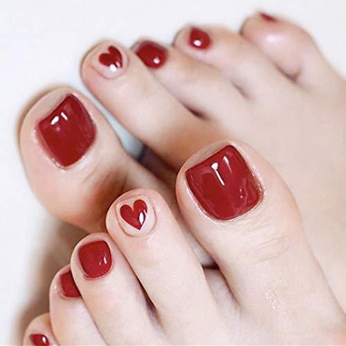 Brishow Uñas postizas de acrílico rojo en las uñas de los pies Uñas postizas del corazón Uñas postizas de los pies completa Uñas postizas 24 piezas para mujeres y niñas