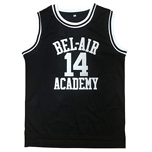 EKANBR The Fresh Prince of Bel Air Academy Basketball Jersey #14 Shirts (Black, Small)