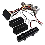 Yibuy 3 Band Active Bass Preamp Equalizer 4 Controls for P J Bass Pickup Set