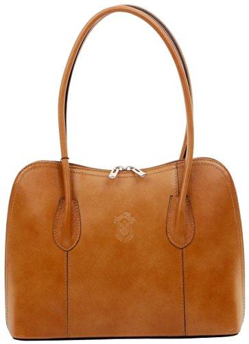 Primo Sacchi Ladies Italian Smooth Bräunen Leder handgefertigte klassische Handtasche mit langem Griff Tragetasche oder Umhängetasche