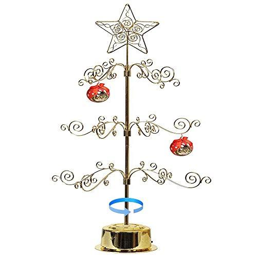 HOHIYA Ornament Display Tree Stand Metal Christmas Rotating Tabletop 24inch Gold