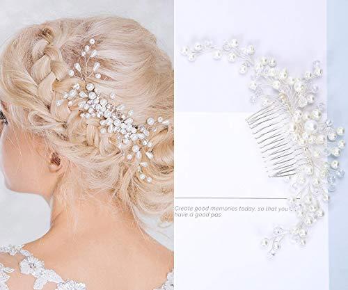 Haarschmuck Brautschmuck Haarnadeln - 3pcs Art und Weise Retro Elegante Damen Perlenrhinestone Haarclip Hochzeit Brautschmuck Braut Haar Zubehör (Silber)