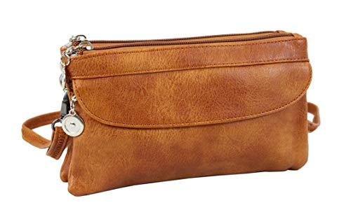irisaa Small Women's Shoulder Bag - Crossbody Handbag Mini Bag Wallet Messenger Bag Street Used Look with Zip Brown Size: One Size