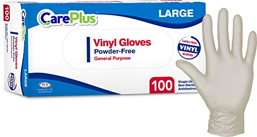 Care Plus [100 Count] Disposable Plastic Vinyl Clear Large Gloves, Allergy, Latex and Powder Free, Great for Home Kitchen Or Office Cleaning, Cooking, 1 Box