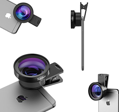 Syntus 0.45X Wide Lens and 12.5X Macro Lens Attachment Clip-on Cell Phone Camera Lenses Kit for iPhone 7 6s 6 5s, Samsung Galaxy, Android Smartphones