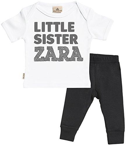 Personalizados bebé Little Sister Custom Name Regalo para bebé - Camiseta Personalizados para bebés & Pantalones para bebé - Regalos Personalizados para bebé - Blanco, Negro - 0-6 Meses