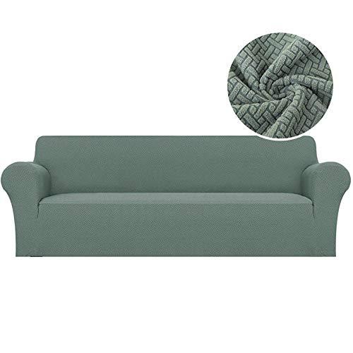 Funda de sofá elástica Jacquard, segmentada, Antideslizante, Resistente al Desgaste, fácil de Limpiar, Utilizada para la protección de Muebles-Verde Claro_1plaza 90-140cm
