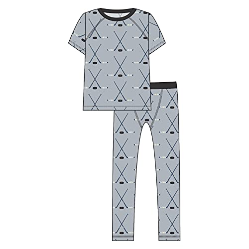KicKee Pants Sport Pajama Set with Short Sleeve Tee and Fitted Bottoms, Kids Pajamas (Pearl Blue Hockey - 8 Years)