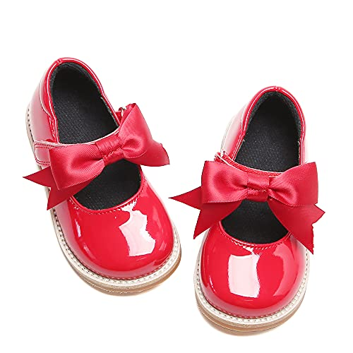 Kiderence Girls Flat Dress Shoes School Oxfords Marry Jane Red (Toddler 7 /Little Kids)