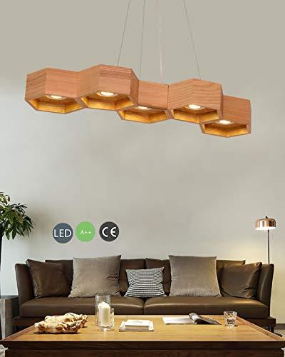 LED Hout Hanglamp Eettafel Lamp Moderne 5 Licht Ontwerp Opknoping Licht Ingebouwde Lichtbron Ophanglamp Verstelbare Hoogte Hanger Lamp Hout Licht voor Eetkamer Woonkamer Office Koffie