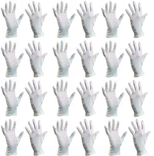 (9/L) Baumwollhandschuhe (24 Stück) Schutzhandschuhe, Baumwolle Handschuhe, Stoffhandschuhe, Cotton Gloves, Arbeitshandschuhe, Sporthandschuhe | Damen Herren Kinder | Größen XS, S, M, L, XL, XXL