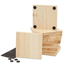 Wood Coasters - 12-Pack Unfinished Square Wood Coasters with Non-Slip Foam Dot 3.7 x 3.7 x 0.4 Inches