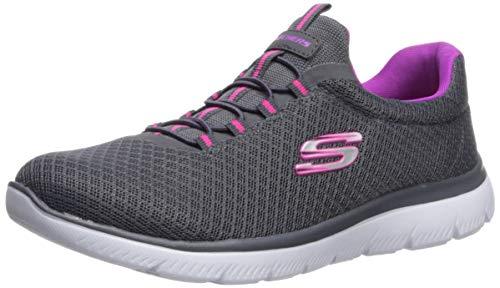 Skechers womens Summits Sneaker, Charcoal/Purple, 6 Wide US