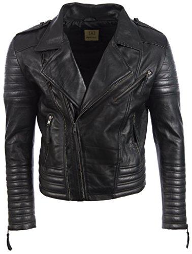 Aviatrix Herren Ultra Stilvoll Hochwertig Echtes Leder Biker Mode Jacke (SDTM)