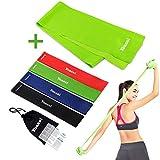 Yoassi 150×15 cm Fitnessband mit Set 4-Stärken 30×5 cm Widerstandsbänder-Stretchband Fitness...