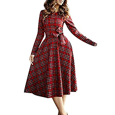 Women Sexy Vintage Long Sleeve Plaid Cocktail Evening Party Long Dress