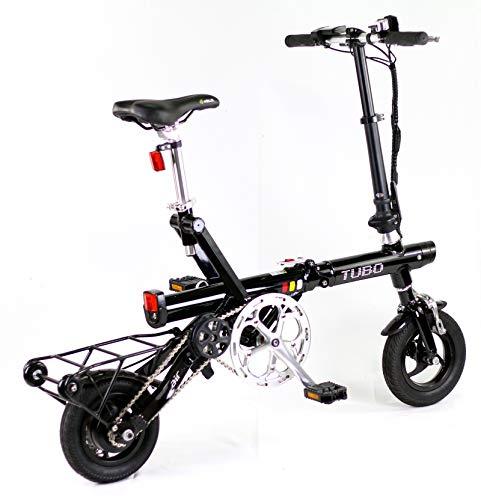 TUBO AIR Black, Bicicletta Elettrica Pieghevole Trasportabile in Aereo, 13 Kg, Motore 250W, Batteria 36V 2.6Ah 94Wh, Ruote 10 pollici