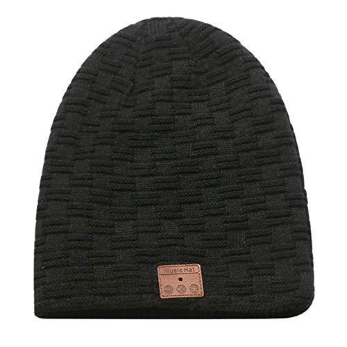 Aoliao Gorro unisex inalámbrico Bluetooth de punto de terciopelo cálido para el invierno Binaural estéreo de música auriculares sombrero para correr por la noche