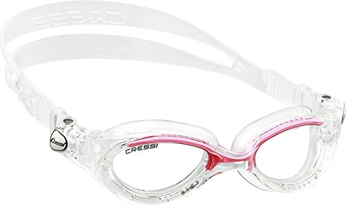 Cressi Flash - Premium Erwachsene Schwimmbrille Antibeschlag und 100% UV Schutz, Transparent/Rosa - Transparent Linsen, One Size